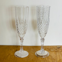 Champagne Flute, Clear with Silver Glitter