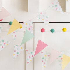 Hooray Solid Vellum Mini Pennant Banner