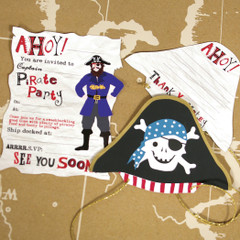 Ahoy There Pirate Invitation and Thank You Card Set