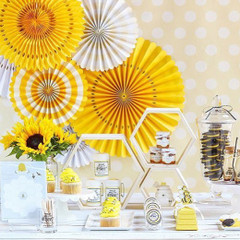 Paper Pinwheels, Yellow Party Fans