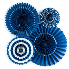Paper Pinwheels, Navy Blue Party Fans