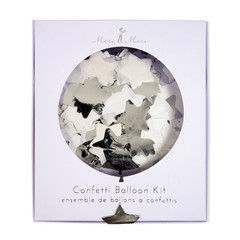 Confetti filled Balloon Kit, Silver, 18""