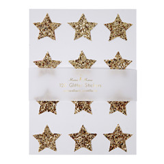 Stickers, Chunky Gold  Glitter Stars