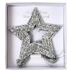 Chunky Silver Glitter Stars Mini Garland