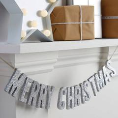 Silver Glitter Wooden Christmas Banner