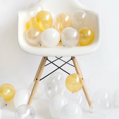 Mini Balloons: 36 White Metallic Mixed