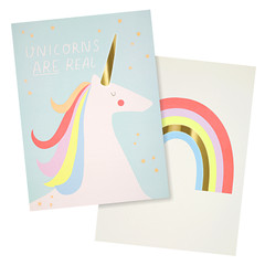 Art Prints, Unicorns & Rainbows x 2