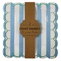 Toot Sweet Large Blue Stripe Plates