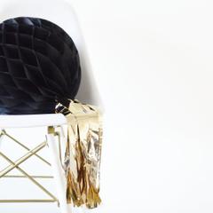 Honeycomb Ball, Black w/ Gold Tassel