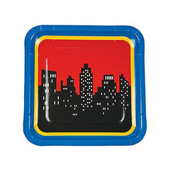 Super Hero Square Plates, Large
