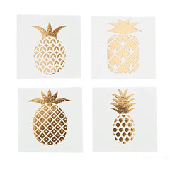 Gold Foil Pineapple Temporary Tattoos