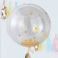 Clear Orb Balloons, Gold Confetti, Large