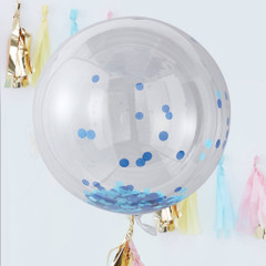 Clear Orb Balloons, Blue Confetti, Large