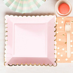 Scalloped Blush Pink Plates, Large 9""