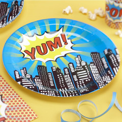 Pop Art Super Hero Dinner Plates