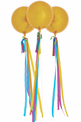 Happy Orb Balloons, Gold with Streamers