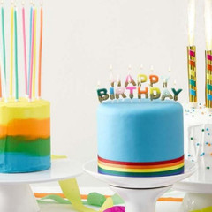 Bright Rainbow Happy Birthday Candles