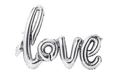 Silver Script Love Balloon
