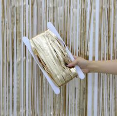 Metallic Tinsel Curtain, Matte Gold