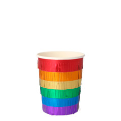 Rainbow Fringe Beverage Cups