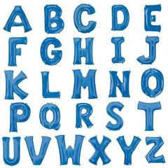 """Foil Alphabet Letters w/ Helium, Blue 34"""""""