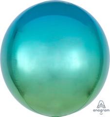 """Orbz, Blue & Green Ombre Foil Balloon, 16"""""""