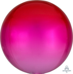 """Orbz, Red & Pink Ombre Foil Balloon, 16"""""""