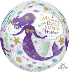 Mermaid Wishes Orbz Balloon, 16""