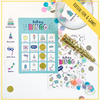 Fun & games with Bingo.  The birthday girl/boy will get the game caller pieces as well as a Bingo card.  Guests will get one card and 16 gold glittery chips.