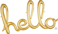 Gold Hello Script Balloon