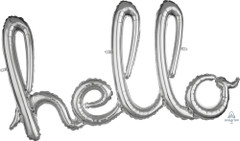 Silver Hello Script Balloon