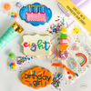 Want to 'super size' your happygram?  Order personalized sugar cookies with royal icing.  Add your child's name, age, or special word.  Have a design in mind? No problem.