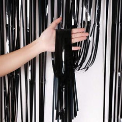 Metallic Tinsel Curtain, Black