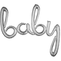 Silver Baby Script Balloon