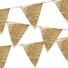 Luxe Gold Glitter Cloth Bunting