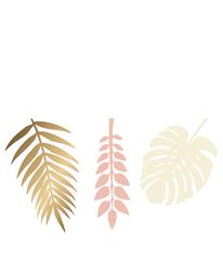 Gold & Blush Deco Leaves