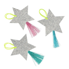 Silver Sparkle Star Tags