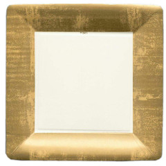 Gold Leaf Square, Dinner Plates,  Ivory