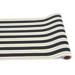 Table Runner, Black & Gold Awning Stripe