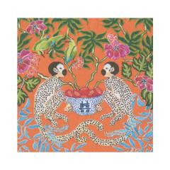 Two Monkeys, Orange Lunch Napkins