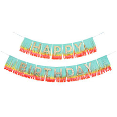 Fringe Garland, Rainbow Happy Birthday
