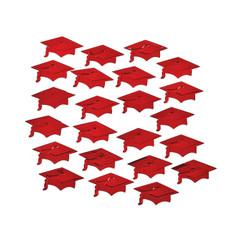 Graduation Mortarboard Confetti, Red