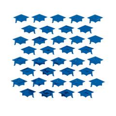 Graduation Mortarboard Confetti, Blue