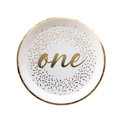 White & Gold One-derland Plates, Small