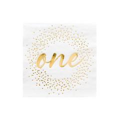 White & Gold One-derland Napkins, Small
