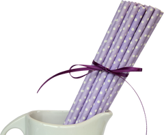 Paper Straws, Polka Dot Purple