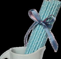 Paper Straws, Blue Polka Dot