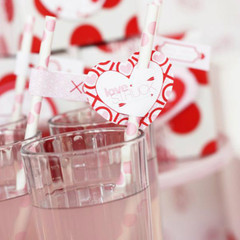 Valentine's Straw Flags