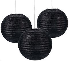 Black Glitter Paper Lanterns