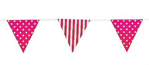 Bunting, Hot Pink Stripes & Polka Dots